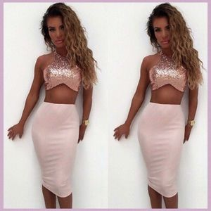 PINK DETAILED TWO PIECE SKIRT SET WITH SEQUINS